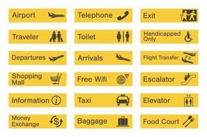 conjunto de sinalização do aeroporto vetor
