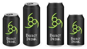vetor de latas de bebida energética de alumínio preto