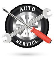 logotipo de serviço automotivo com chave de fenda e chave inglesa vetor