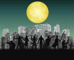 equipe de matadores de zumbis do dia das bruxas com cidade do apocalipse em ruínas vetor