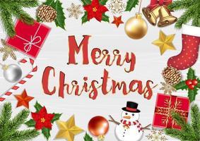 objetos de Natal alegre, vista de cima em fundo de madeira vetor