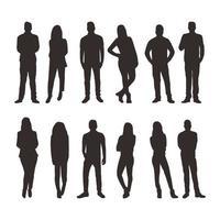 pessoas em diferentes poses coleção de silhuetas vetor