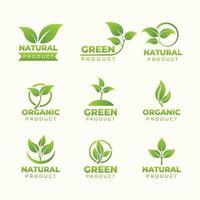 conjunto de produtos de logotipo natural vetor