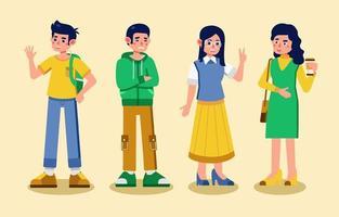 grupo de jovem personagem universitário vetor