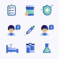 conjunto de ícones de vacina vetor