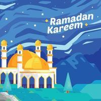 fundo da mesquita ramadan kareem vetor