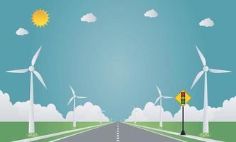 semáforo em estrada natural com turbina eólica. Ilustração em vetor