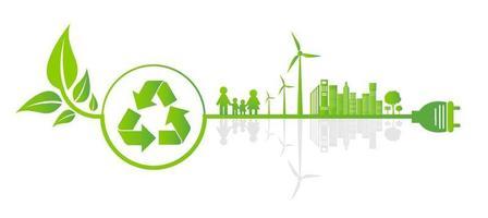 conceito de equipamento de economia de ecologia e desenvolvimento de energia ambiental sustentável, ilustração vetorial vetor