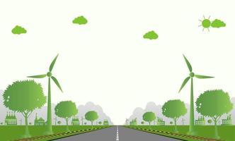 ecologia de fábrica, ícone da indústria, turbinas eólicas com árvores e energia limpa do sol com ideias de conceito ecológico para estradas. vetor