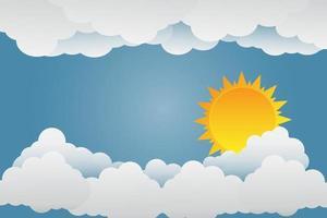 o sol brilha nas nuvens ... ilustração em papel arte. vetor