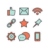 Conjunto de ícones plana de mídia social vetor