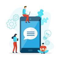 bate-papo no celular com balão de fala vetor