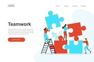 modelo de página de destino sobre trabalho em equipe. conceito de design plano para site vetor