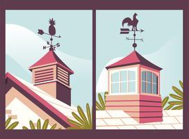 Casa com Weather Vane Poster Pack vetor