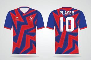modelo de camisa esportiva vermelha e azul para uniformes de equipe e design de camisetas de futebol vetor