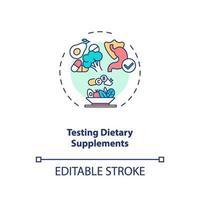 ícone do conceito de teste de suplementos dietéticos