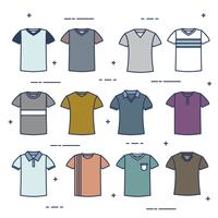 Conjunto de vetores modelo de camiseta