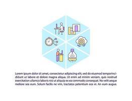 ícones de linha de conceito de gestão de escritório com texto vetor