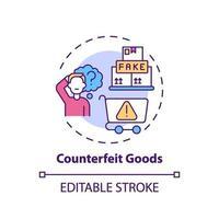 ícone do conceito de produtos falsificados vetor