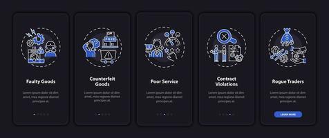 instruções do cliente integrando a tela da página do aplicativo móvel com conceitos vetor