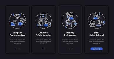 tela de página de aplicativo móvel de integração de defesa do cliente com conceitos vetor