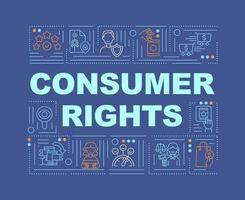 banner de conceitos de palavras de direitos do consumidor vetor