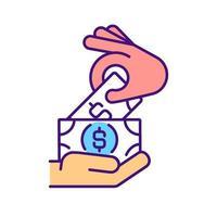 ícone de cor rgb de pagamento em dinheiro vetor