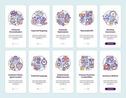 tela de página de aplicativo móvel de integração de conteúdo inteligente com conjunto de conceitos vetor