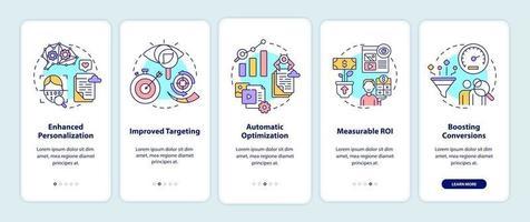 o conteúdo inteligente beneficia a integração da tela da página do aplicativo móvel com conceitos vetor