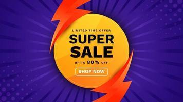 banner de super venda com ilustração de iluminação. fundo azul colorido na moda. modelo de promoção de anúncios de produtos comerciais. vetor