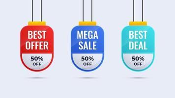 etiqueta de venda de promoção, adesivo, modelo de banner. design colorido com opções interessantes. ilustração vetorial. vetor