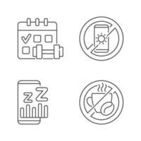 recomendações para evitar o conjunto de ícones lineares de insônia vetor