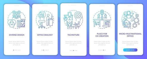 tendências do local de trabalho integrando a tela da página do aplicativo móvel com conceitos vetor