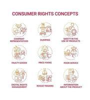 conjunto de ícones de conceito de direitos do consumidor vetor