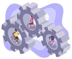 Ilustração isométrica de trabalho em equipe vetor