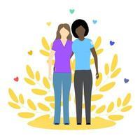 duas meninas lésbicas, pretas e brancas. casal LGBT. relacionamento gay. ilustração em vetor conceito. perfeito para publicação na Internet.