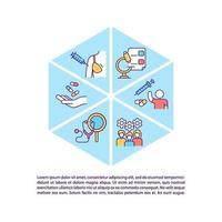 ícones de linha de conceito de processo de teste de vacina com texto vetor