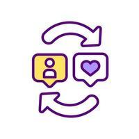 ícone de cor rgb de engajamento de mídia social vetor