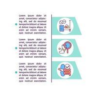 ícones de linha de conceito de fases de testes clínicos com texto vetor