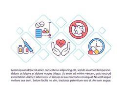 testando ícones de linha de conceito de produtos médicos com texto vetor