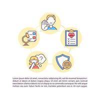 Ícones de linha de conceito de direitos de participantes de ensaios clínicos com texto vetor