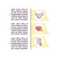 ícones de linha de conceito de consentimento informado com texto vetor