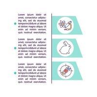 Ícones de linha de conceito de estudos pré-clínicos com texto vetor