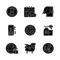 motivos de insônia ícones de glifo preto definidos no espaço em branco vetor