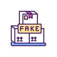 ícone de cor rgb de bens de consumo falsificados vetor