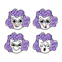 Coleção de rosto bonito menina Emoji