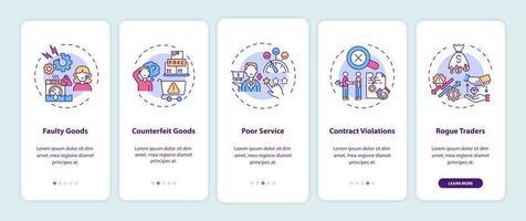alegações de violação dos direitos do consumidor na tela da página do aplicativo móvel com conceitos vetor