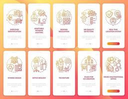 tela de página de aplicativo móvel de integração de local de trabalho inteligente com conjunto de conceitos vetor