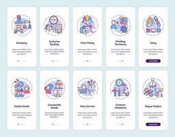 práticas de negócios integrando a tela da página do aplicativo móvel com o conjunto de conceitos vetor
