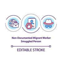 trabalhador migrante sem documento, ícone do conceito de pessoa contrabandeada vetor